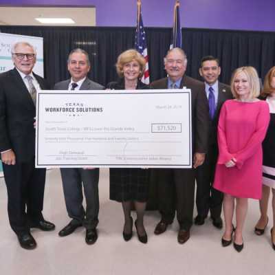 STC, Hidalgo ISD and TWC representatives come together for a check presentation benefiting students in manufacturing and healthcare.