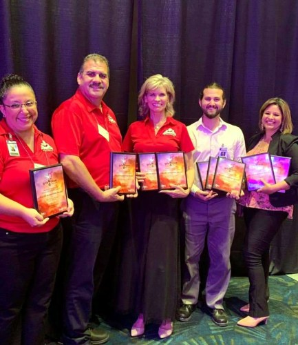 Quinta Mazatlán with some of its 21 Kaliff Marketing Awards for the festivals the famed nature-preserve hosts.