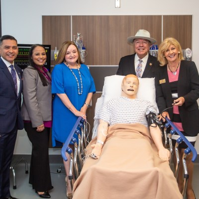 """Texas Workforce Commissioner Representing Labor Julian Alvarez, Workforce Solutions Strategy and Engagement Director Arcelia Sanchez, Workforce Solutions Boardmember Sonia Falcon, Sen. Juan """"Chuy"""" Hinojosa, and South Texas College President Shirley A. Reed at the formal check signing ceremony Aug. 1."""