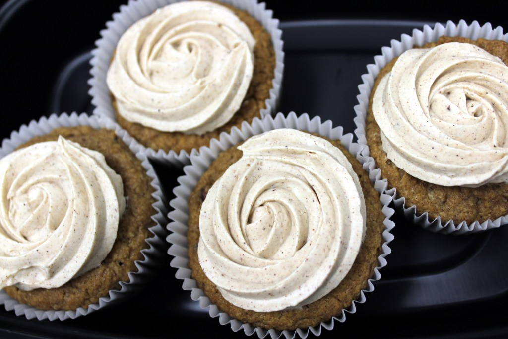 Keto-friendly pumpkin-spice pecan cupcakes made by Lisa Pulido of Love at First Bite.