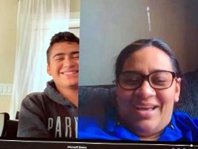 IDEA Toros College Prep teacher Nora Cuevas conducts a one-on-one virtual teaching session with senior Diego Castillo.