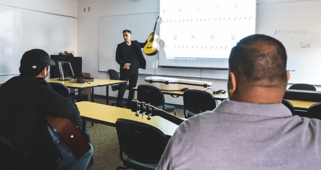 Guitar instructor Jaime Garcia interacts with students during the spring semester. STC will begin offering Music and Culinary Arts courses at the Mid Valley Campus in the fall. (photo STC)