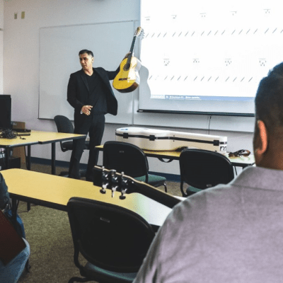 Guitar instructor Jaime Garcia interacts with students during the spring semester. STC will begin offering Music and Culinary Arts courses at Mid Valley in the fall. (photo STC)