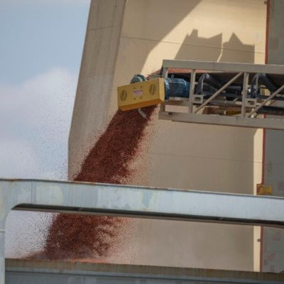 Sorghum from throughout the Rio Grande Valley loads onto The M/V Tian Fu.