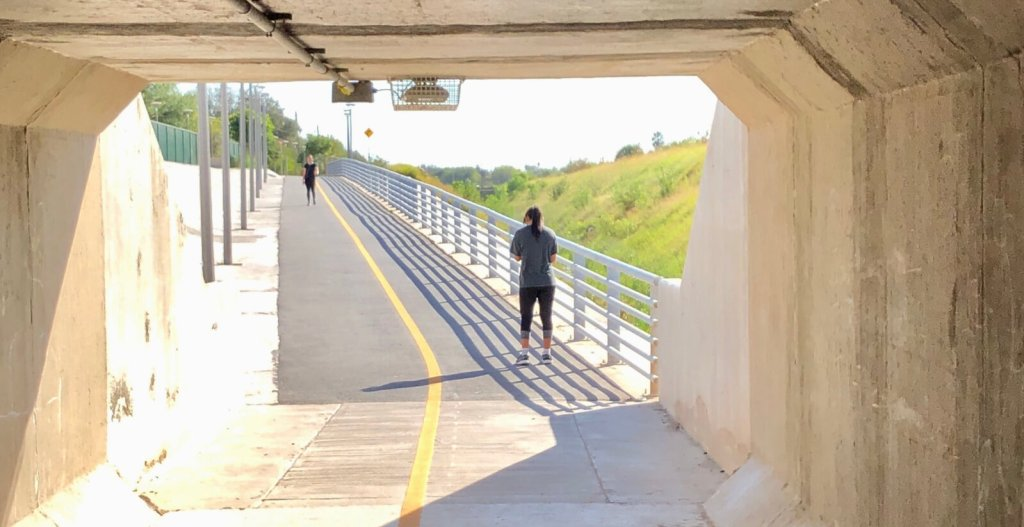 The Precinct 2 trail features four underground tunnels that allow for uninterrupted exercise.