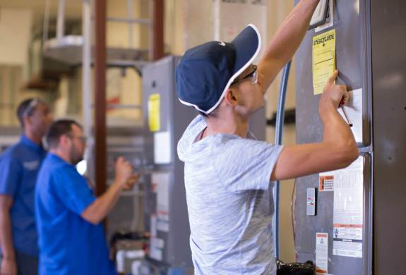 TSC HVAC students have the opportunity of learning the skills of their trade by training with industry-standard equipment and tools.