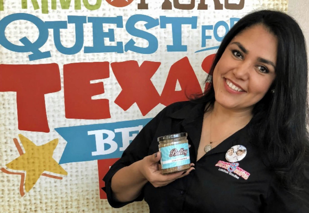 Reynosa native and Nuts and Cows owner Elizabeth Davis with products she pitched in the H-E-B Quest for Texas Best competition in 2018. (Courtesy)
