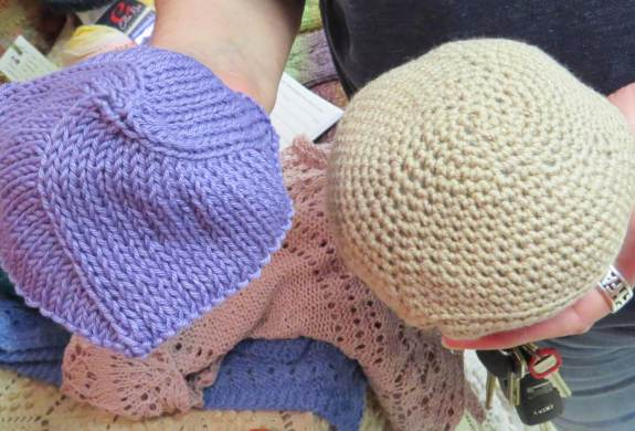 The front side of Knitted Knockers, which come in different sizes based on the woman's bra-cup size.