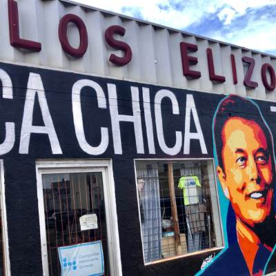 A mural of SpaceX founder Elon Musk on a downtown Brownsville building.