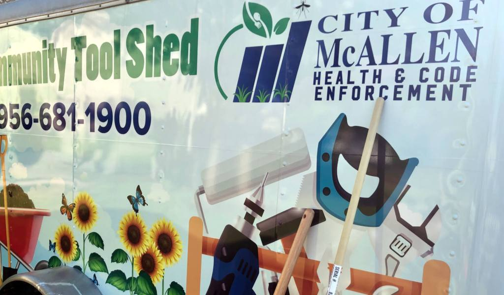 The Community Tool Shed is up and rolling in McAllen .It allows local residents to borrow essential yard work tools and equipment.