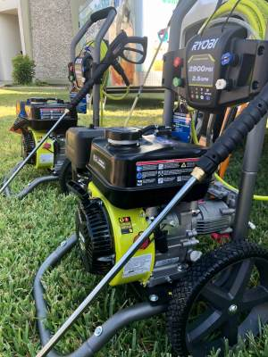 Power washers are among the many yard work tools and equipment that local residents can check out and use for up to three days.