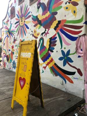 A colorful wall features vibrant colors at the Nana's Taqueria in Weslaco.