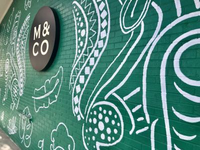Mercato's west wall features an eco-friendly mural by a Houston artist.