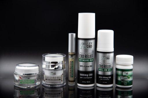 Lash and Brow Serum, Anti Aging Stem Cell Cream, CBD Mints, CBD Relief Intensive Rub, CBD Relief Roll On Gel & Dead Sea Mud Mask by Valley CBD