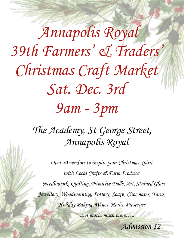 Christmas Craft Market At The Academy Annapolis Royal