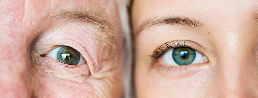 Close-up of an elder woman and younger girl's eyes