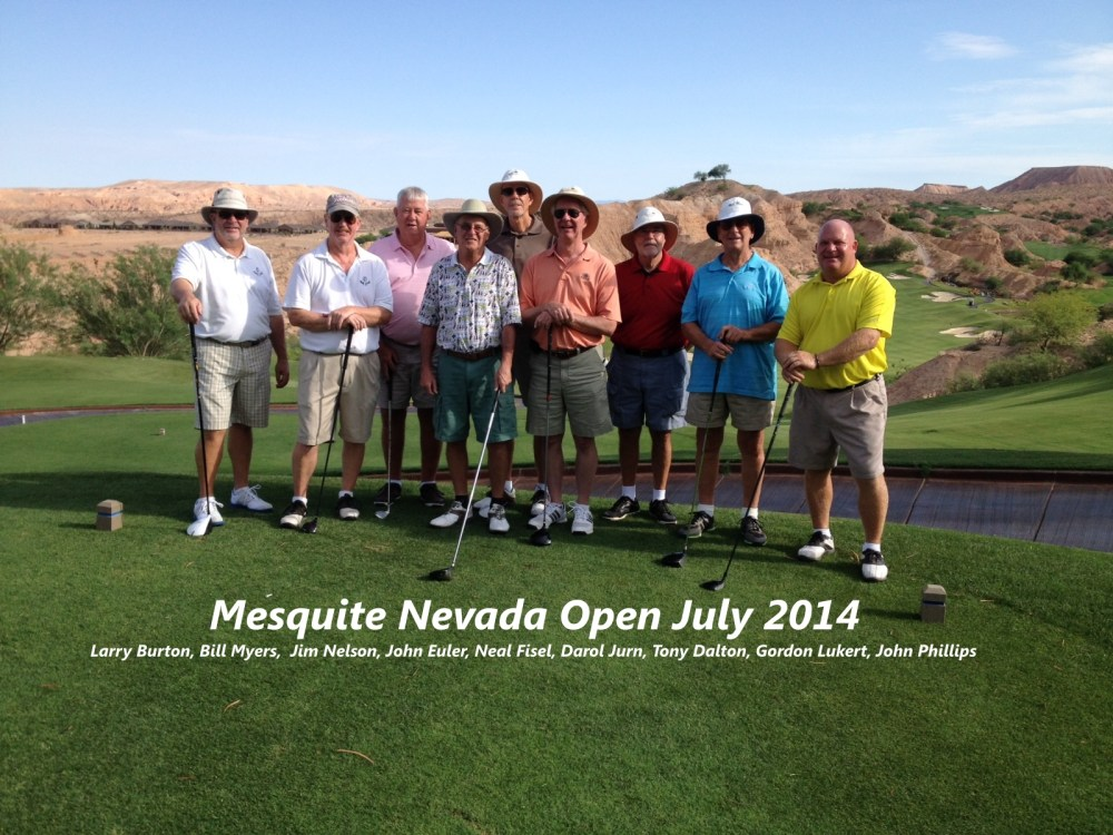 Mesquite Invitational played the 16th and 17 of July 2014 in Mesquite, Nevada. For more Mesquite Golf info click here. We played four rounds; Monday, the Palmer in Mesquite, Tuesday, Sand Hollow in Utah, Wednesday, Wolf Creek in Mesquite, and Thursday, Falcon Ridge in Mesquite. The courses in Mesquite are in the canyons while Sand Hollow is more open, but does have some interesting holes along a mesa bordering the Virgin River. The highlight of the trip was Wolf Creek, which we played at 5798 yards, and a slope of 134. But the scenery was worth it. After four rounds, Larry Burton and Neal Fisel tied for first place with a net score of 274. A good time was had by all and we are looking forward to doing it again next year.