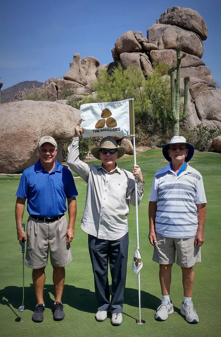 L-R, Steve Richter, Doug Patterson, Gordon Lukert, enjoy the beauty of the The Boulders Golf Course. June, 8th, 2016