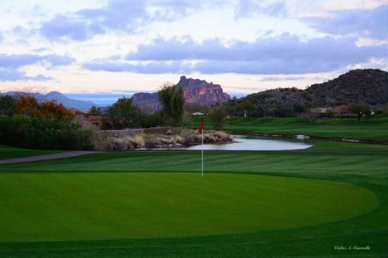 """As one of the best golf courses in all of Arizona, you will play on a world class layout that provides, """"A golf experience to remember for a lifetime."""" In 1995, Robert Trent Jones Jr. made his Arizona debut joining an elite list of world class architects who have left their mark in the desert southwest with the opening of Las Sendas Golf Club. A demanding desert-style layout winding through the Usery Mountains in eastern Mesa, this upscale course is setting the standard for customer service in the Mesa, Scottsdale, and Greater Phoenix areas. Las Sendas' spectacular views of the Phoenix metropolis and skyline help soften the demand of managing your game through the rugged terrain, nearly 1800 feet above the desert floor."""