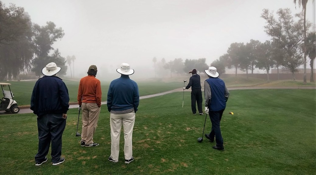 A foggy morning start at Superstition Spring Golf Course