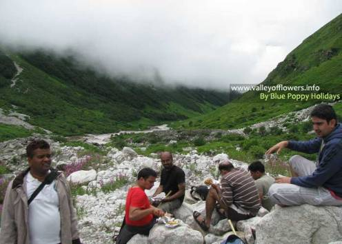 Group members having lunch 10 kilometers inside the Valley of Flowers.