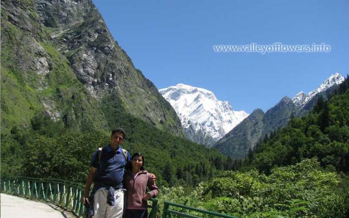 Me and my wife on the way to Ghangaria from Govindghat, unfortunately this point is washed off by flood in June, 2013 in the background you can see a snow clad peak, it is Hathi Parvat.