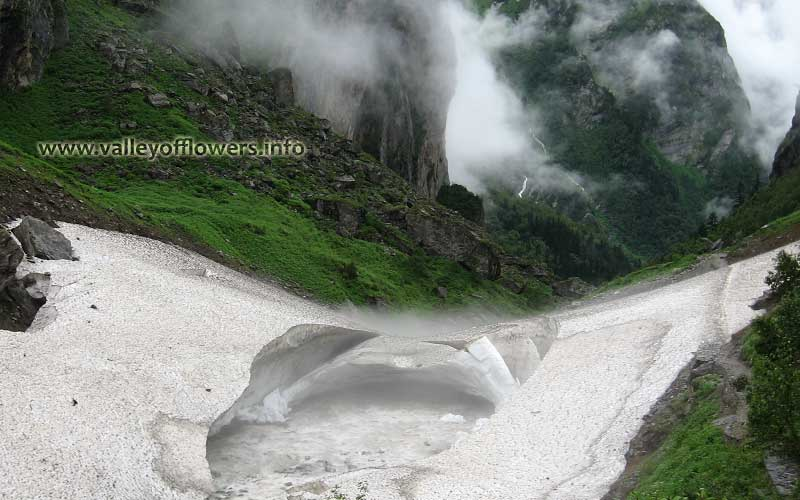 Beautiful Glacier on the way to Valley of Flowers. This Glacier is 2 kilometers inside the Valley of Flowers.