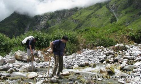 You need to cross some 3-5 such shallow streams, depending upon how deep you go into the valley.