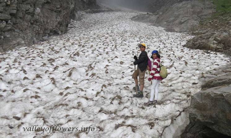 Ghangaria to Hemkund Sahib trek This is not the picture of trek, actually these children wanted to stand on this glacier. Picture was taken in September 1st week.