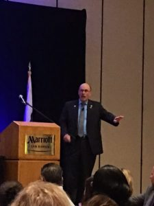 San Ramon Mayor Bill Clarkson speaks to attendees at the annual State of the City Luncheon on February 9 at the an Ramon Mariott