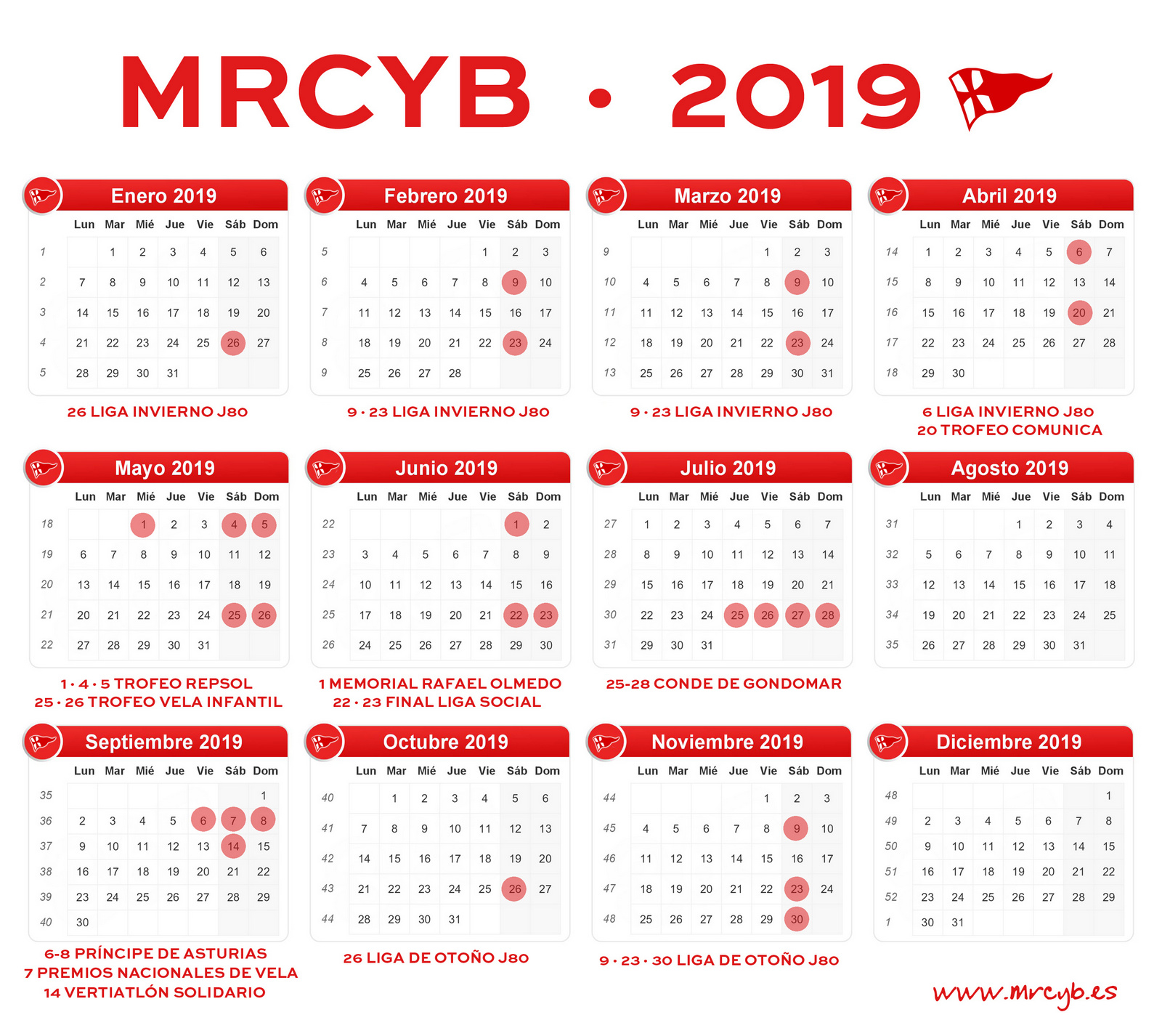 CALENDARIO MRCYB 2019