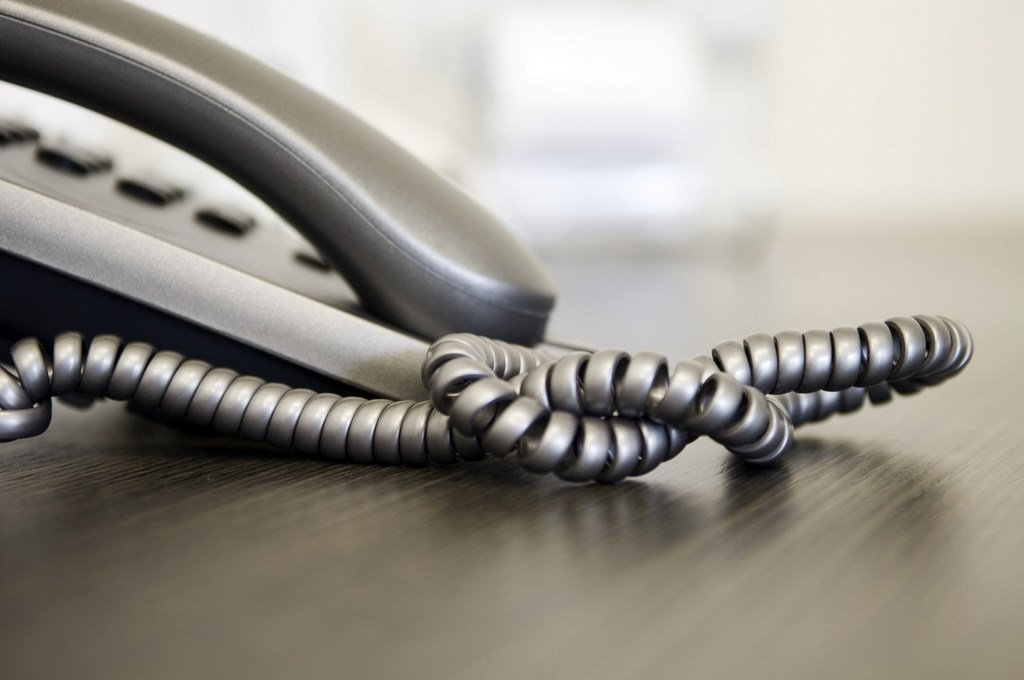 Close up of telephone on office desk