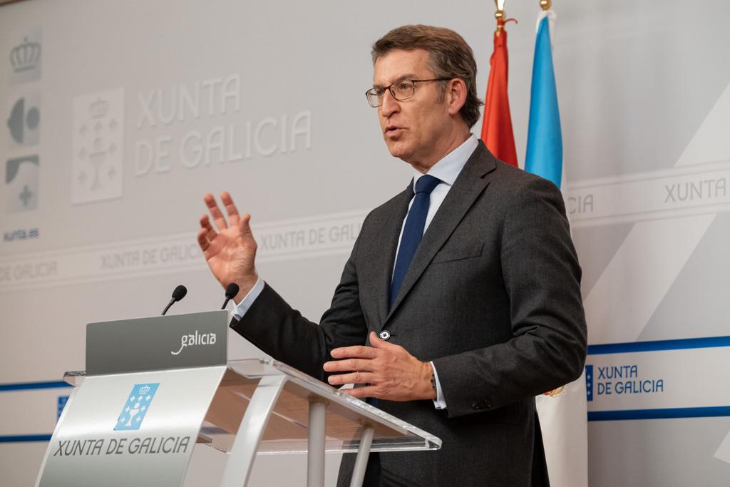 O titular do Goberno galego  na rolda de prensa posterior á videoconferencia cos representantes dos principais partidos políticos galegos