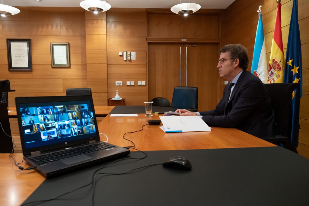O titular do Goberno galego na videoconferencia co presidente do Goberno central e os presidentes autonómicos