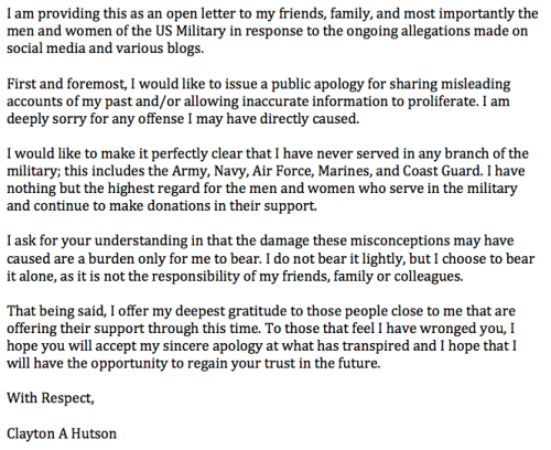 Clay Hutson apology