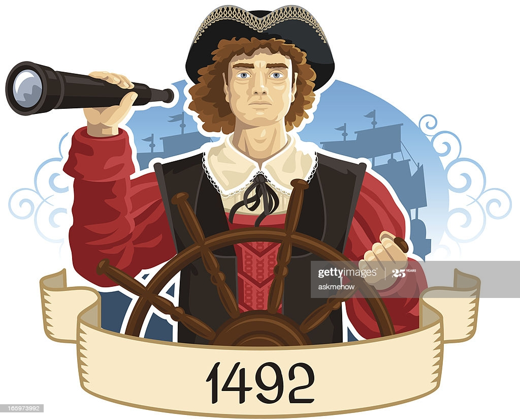 Portrait of Christopher Columbus with a spyglass.