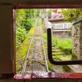 Riding the funicular up to Mount Igueldo