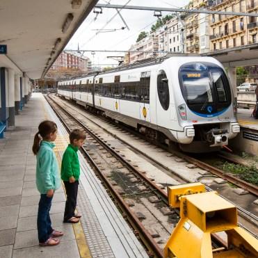 Taking the train from San Sebastian to Hendaye