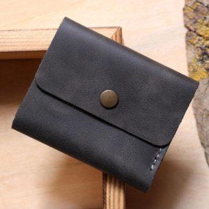 Periapos Hakiki Deri El Yapımı Unisex Siyah Mini Cüzdan