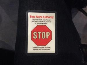 Stop work authority card