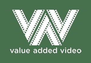 value added video logo white