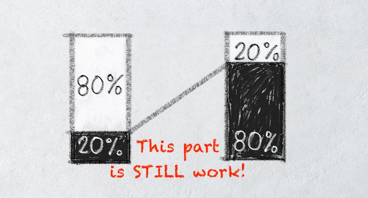 Bar chart of Pareto principle or eighty-twenty rule on white textured background