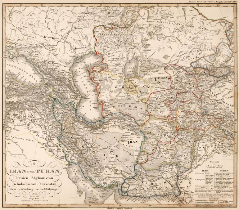 Iran and Turan (Persia and Central Asia). Map by Stieler, 1850 (full map here, 11 MB)