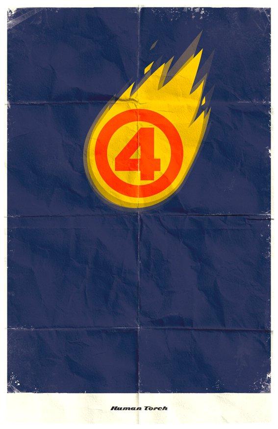 Vamers - Marko Manev - Minimalist Marvel Posters - Fantastic Four - Human Torch