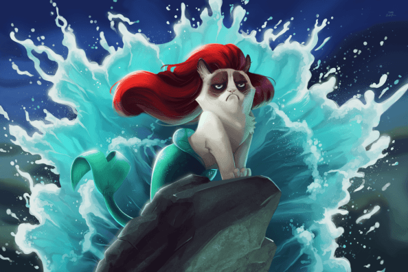 Vamers - Artistry - Grumpy Cat Phtobombs Disney Classics - Artwork by Eric Proctor AKA TsaoShin - Princess Ariel says NO