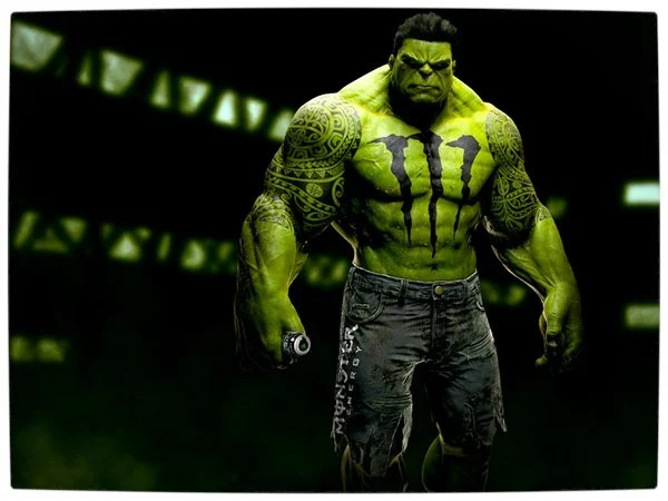 Vamers - Artistry - What if your favourite superhero had a corporate sponsorship - The Hulk sponsored by Monster Energy Drinks 01