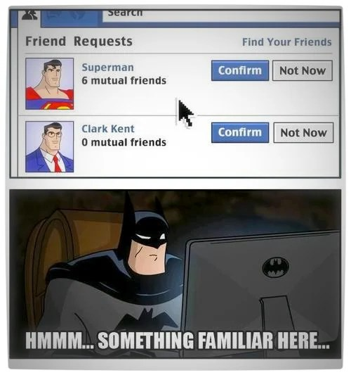 Vamers Humour - Facebook Identity Crisis - Batman and Superman