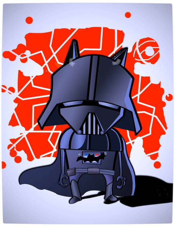 Vamers - Artistry - Bat Vader is The Dark Knight of the Sith - Batman and Darth Vader Mash-Up - Art by Blaeez