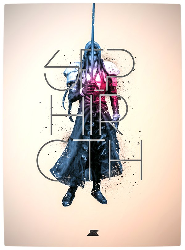 Vamers - Artistry - Beautifully Stylized Posters Of Heroes and Villains - By Josip Kelava - Sephiroth