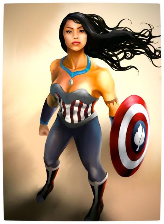 Vamers - Artistry - Disney Princesses Imagined as The Avengers - Pocahontas as Captain America